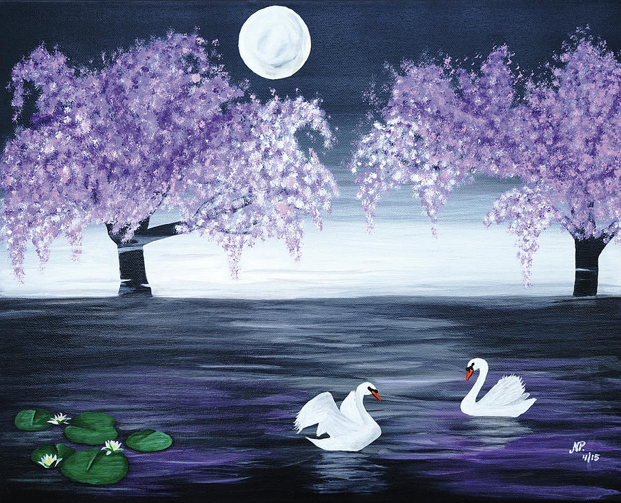 Nature Painting - Swan Lake by Nicole Paquette