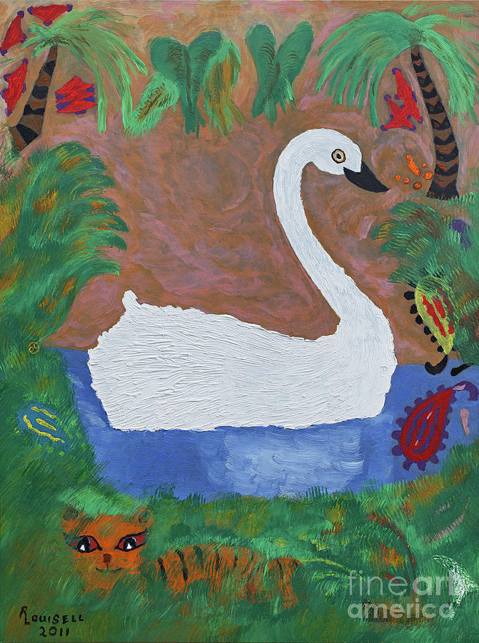 Pastels Painting - Swan Lake Side by Robyn Louisell