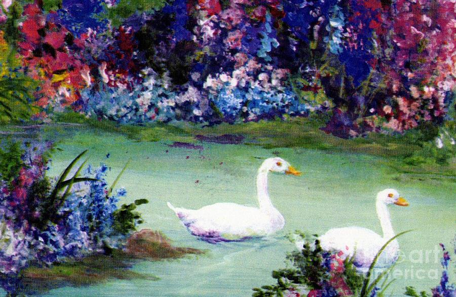 Flowers Mixed Media - Swan Lake by Writermore Arts