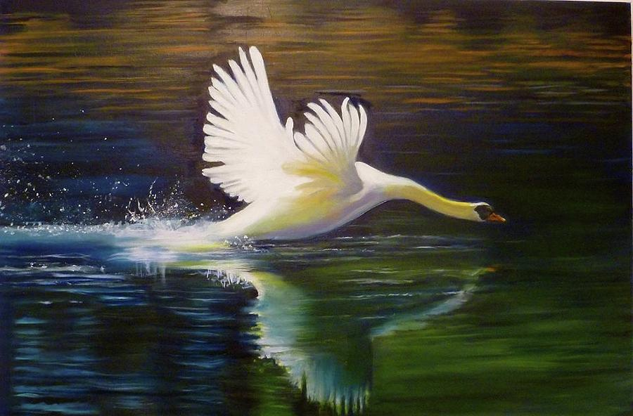 Swan Painting - Swan Landing On The River by Janet Silkoff