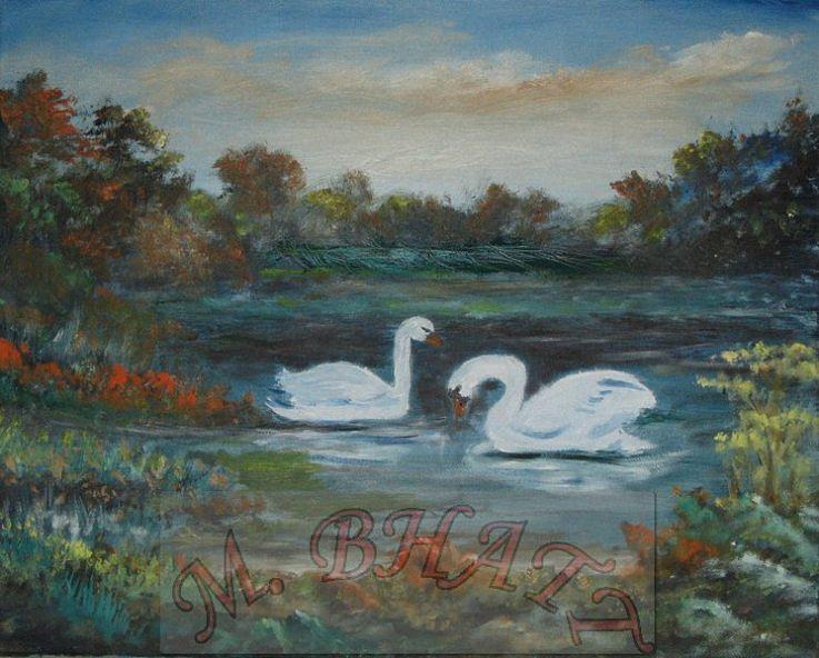 Lake Painting - Swan by M Bhatt