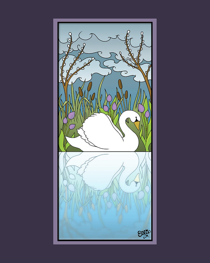 Swan Digital Art - Swan On The River by Eleanor Hofer