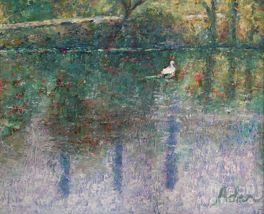Original Oil Photograph - Swan On Town Lake - Now Lady Bird Lake by Felipe Adan Lerma