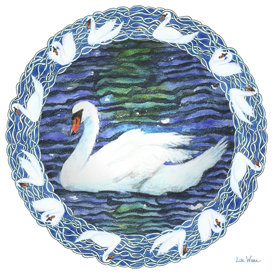 Swan with Knotted Border by Lise Winne