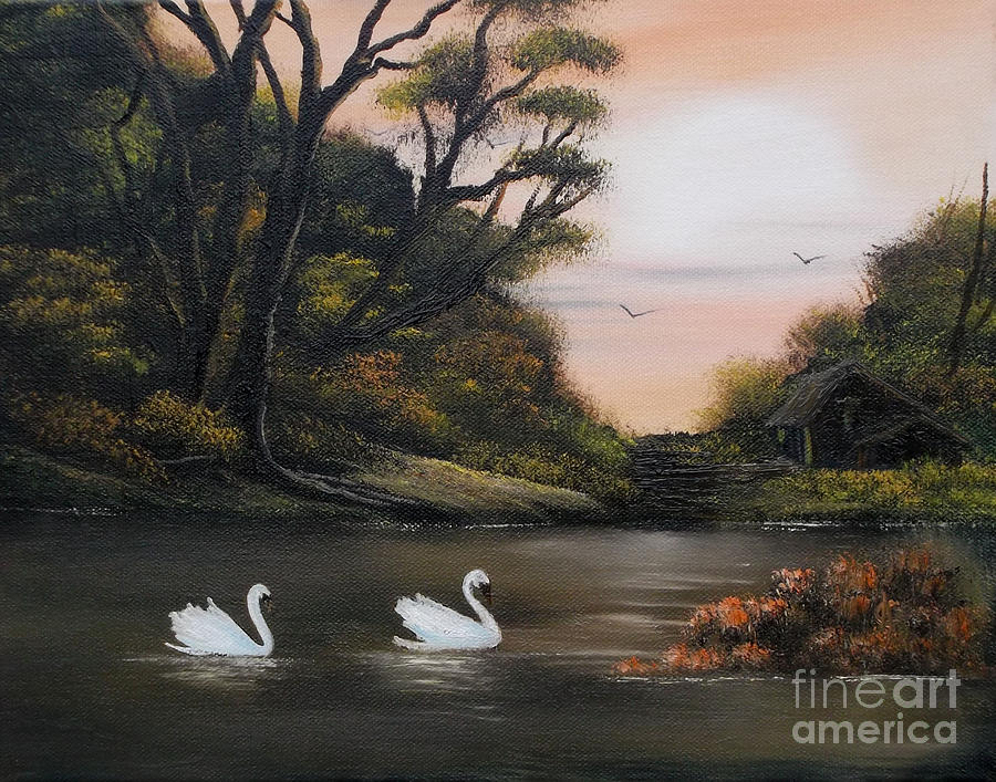For Sale Painting - Swans At Dusk.for Sale by Cynthia Adams