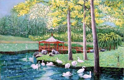 White Birds Painting - Swans By A Pavilion by Komi Chen