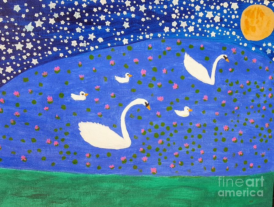 Swans By Moonlight >> Swans By Moonlight Painting By Rooma Ramsaran