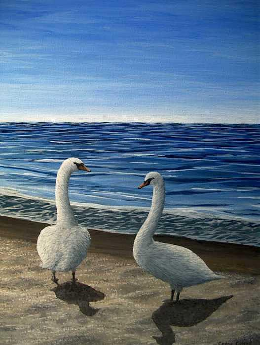 Swans Painting - Swans by Cedric Colond