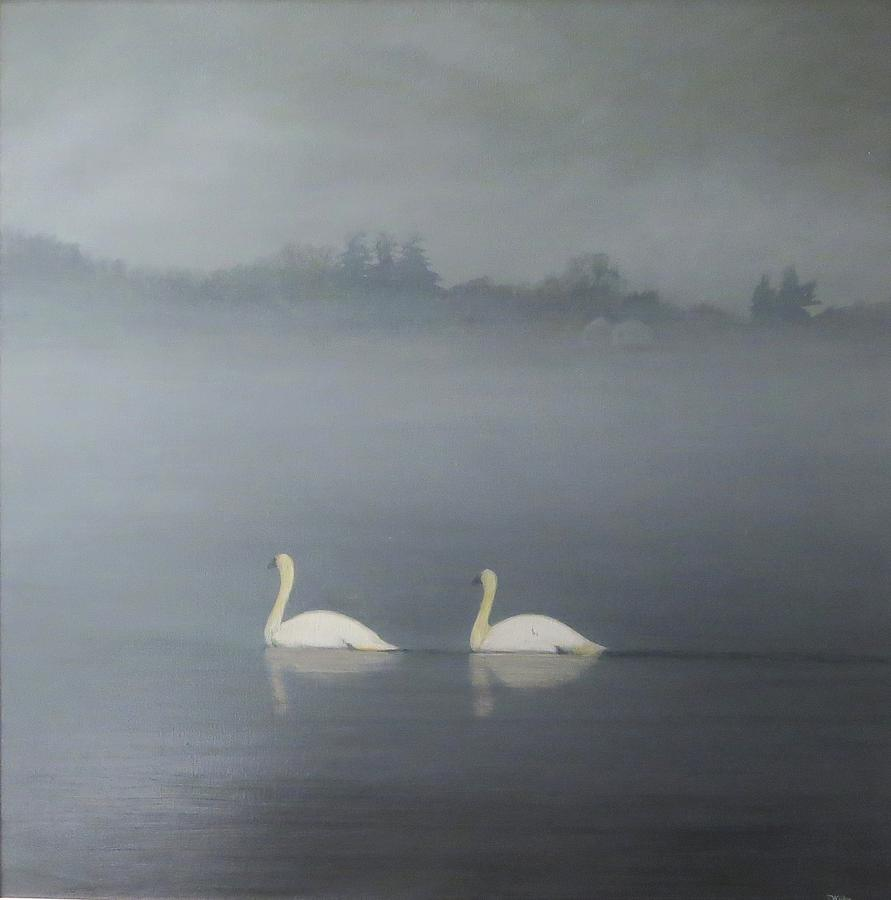 Pond Painting - Swans On Misty Pond by Dennis Kirby