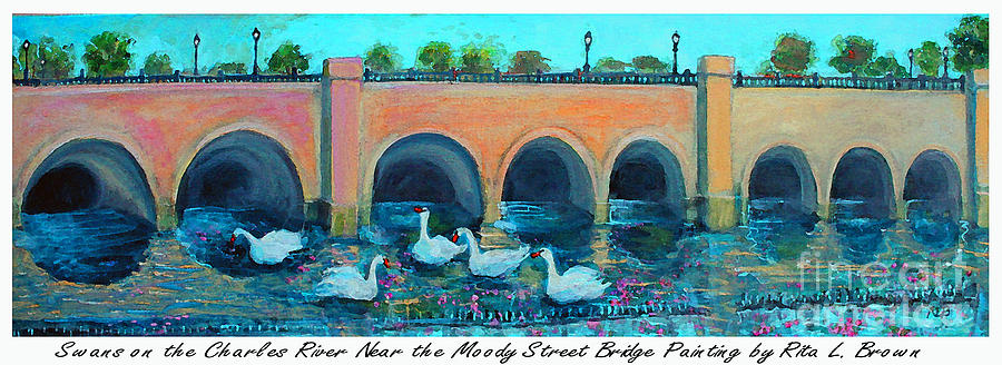 Charles Painting - Swans On The Charles River by Rita Brown