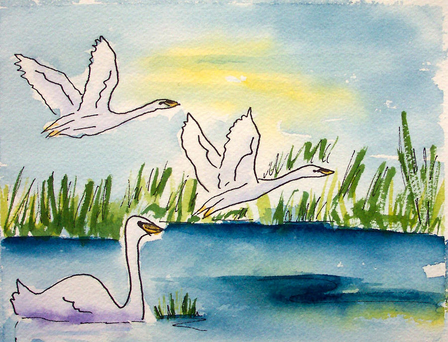 Swans Painting - Swans by Ruth Bevan
