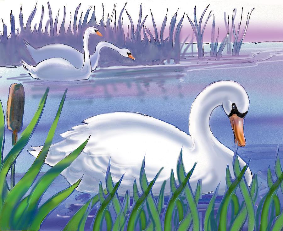 Nostalgic Painting - Swans by Valer Ian