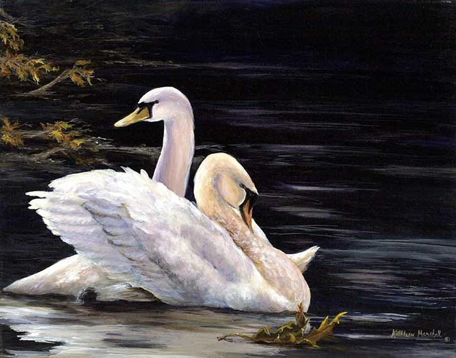 Swans Print - Swansong by Kathleen Marshall McConnell