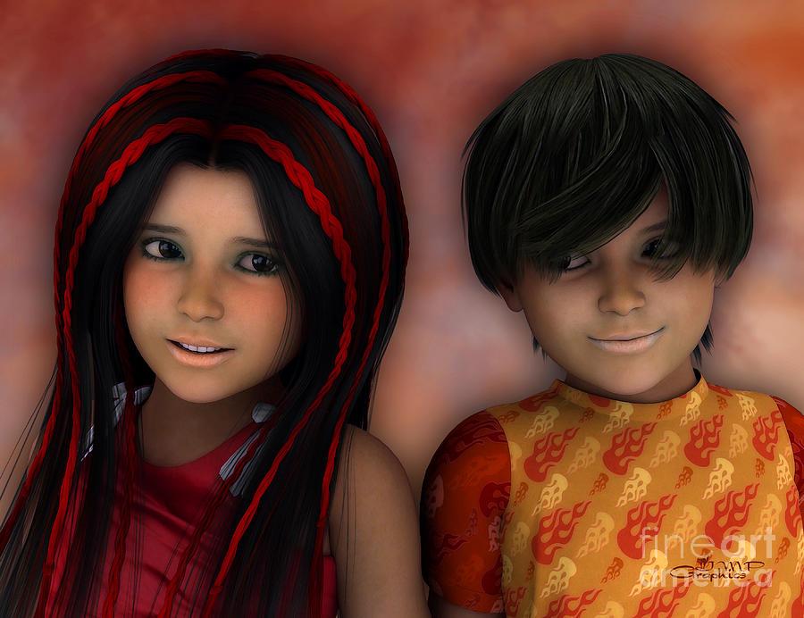 3d Digital Art - Swarthy Twins by Jutta Maria Pusl