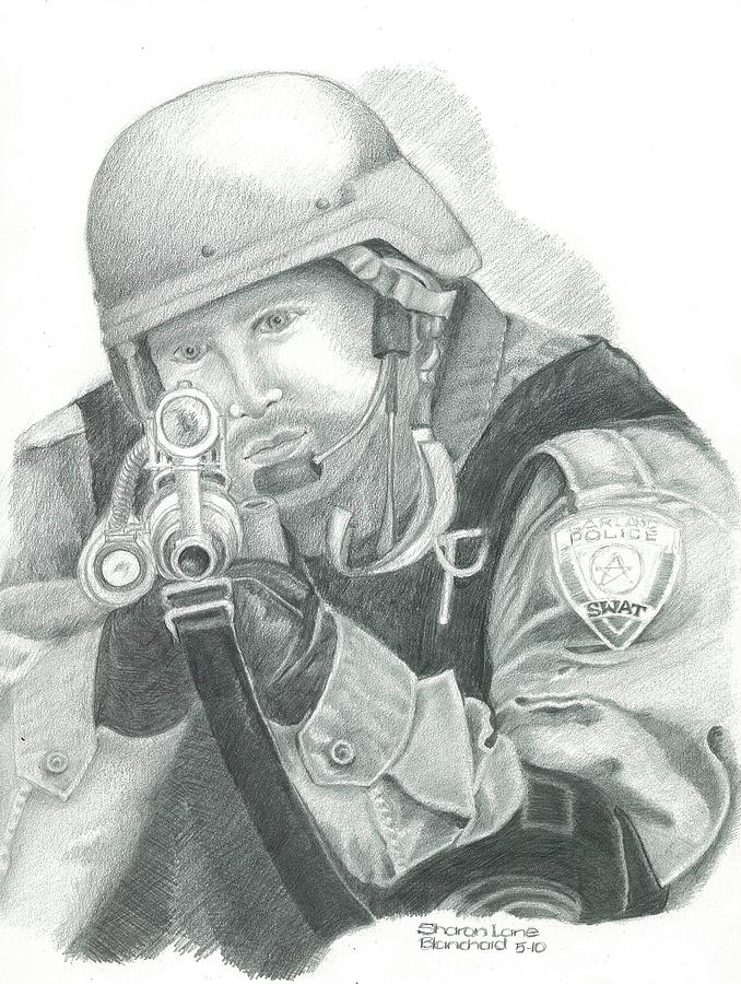 Swat Drawing - S.w.a.t. At The Ready by Sharon Blanchard