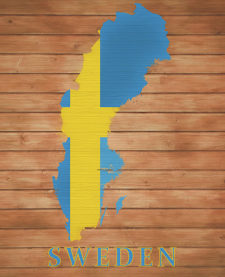 Sweden Map Mixed Media - Sweden Rustic Map On Wood by Dan Sproul