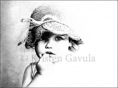Little Girl Drawing - Sweet And Innocent by Kristen Gavula