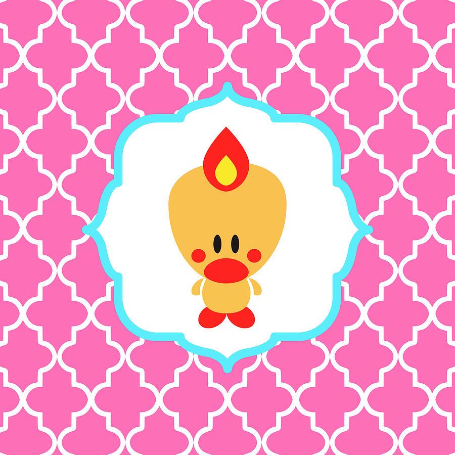 Bird Digital Art - Sweet Angel Bird Cute Pink Trellis Decorative Pillow and Square Wall Art Print by Olga Davydova