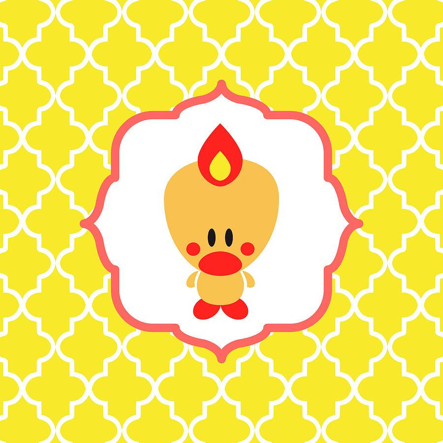 Bird Digital Art - Sweet Angel Bird Cute Yellow Trellis Decorative Pillow and Square Wall Art Print by Olga Davydova