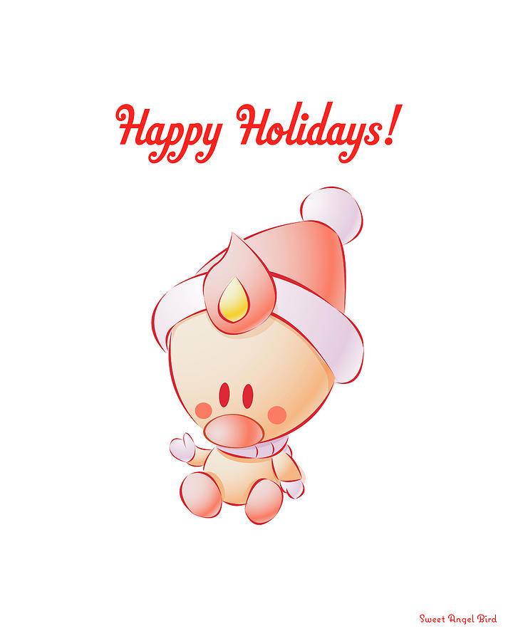 Bird Digital Art - Sweet Angel Bird In A Santa Hat Happy Holidays Art Print by Olga Davydova