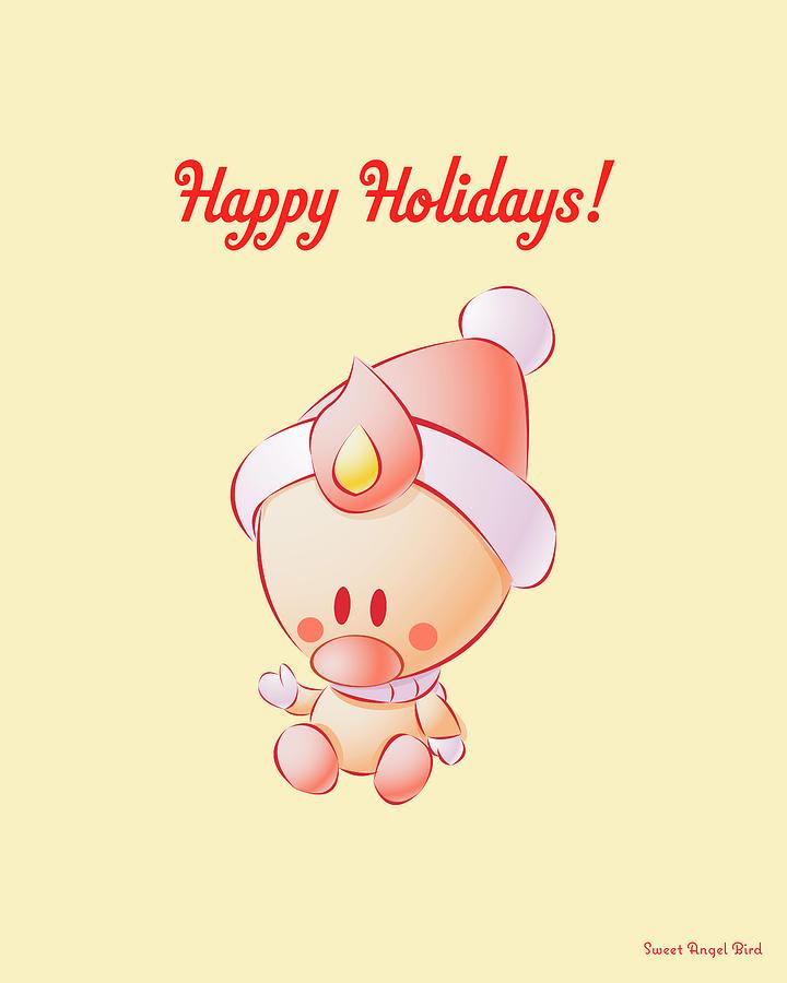 Sweet Angel Bird In A Santa Hat Happy Holidays Wall Art Print by Olga Davydova