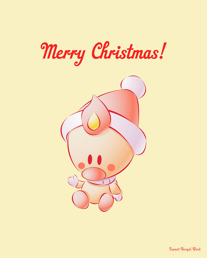 Bird Digital Art - Sweet Angel Bird In A Santa Hat Merry Christmas Wall Art Print by Olga Davydova