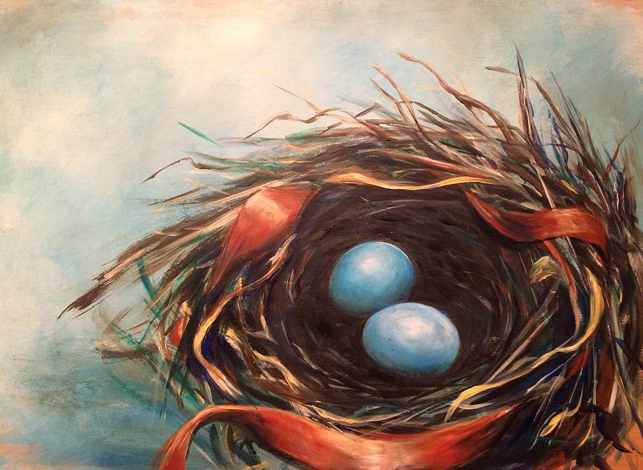 Nest Painting - Sweet Beginnings by Pennie Strople