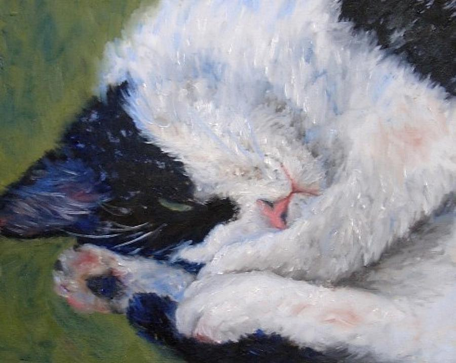 Cat Painting - Sweet Dreams by Debra Mickelson