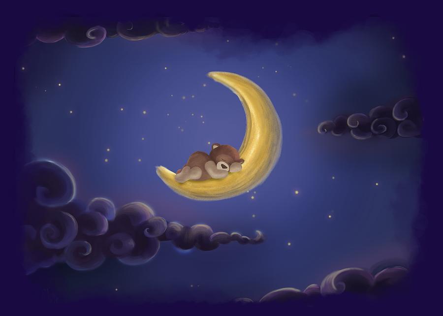 Bear Drawing - Sweet Dreams by Julia Art