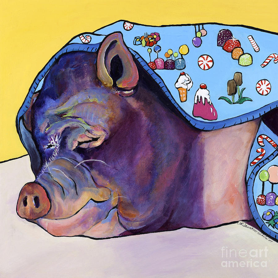Farm Animal Painting - Sweet Dreams  by Pat Saunders-White
