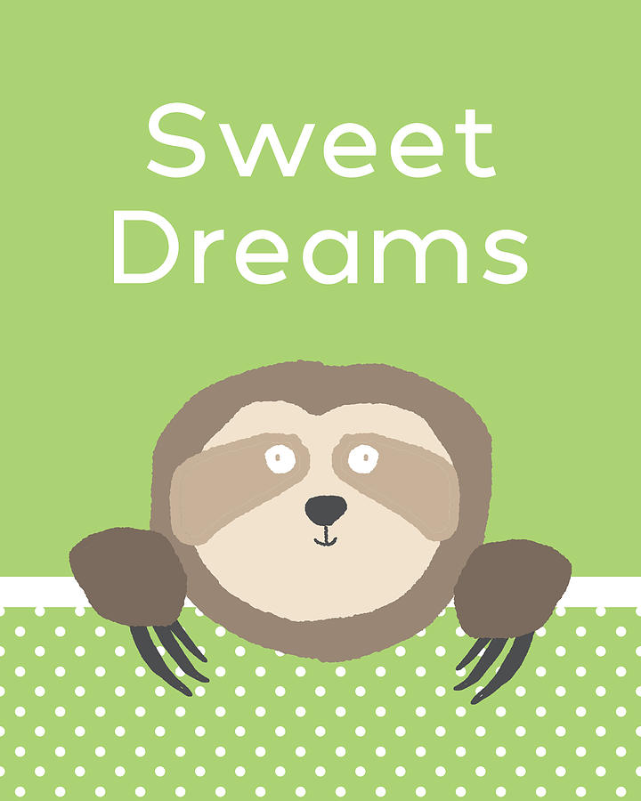 Sloth Digital Art - Sweet Dreams Sloth Green- Art By Linda Woods by Linda Woods
