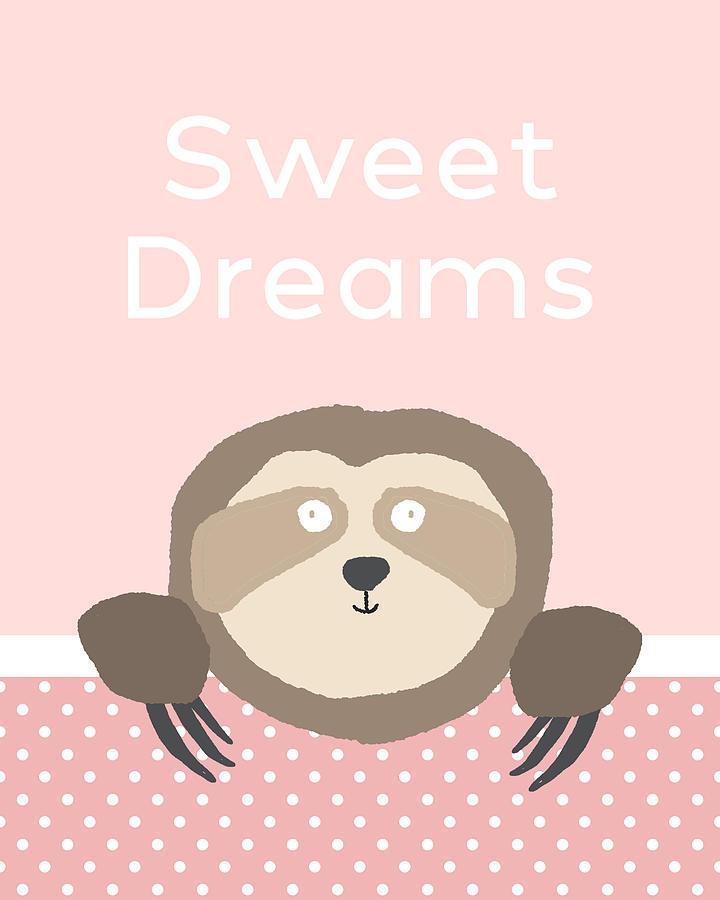 Sloth Digital Art - Sweet Dreams Sloth Pink- Art by Linda Woods by Linda Woods