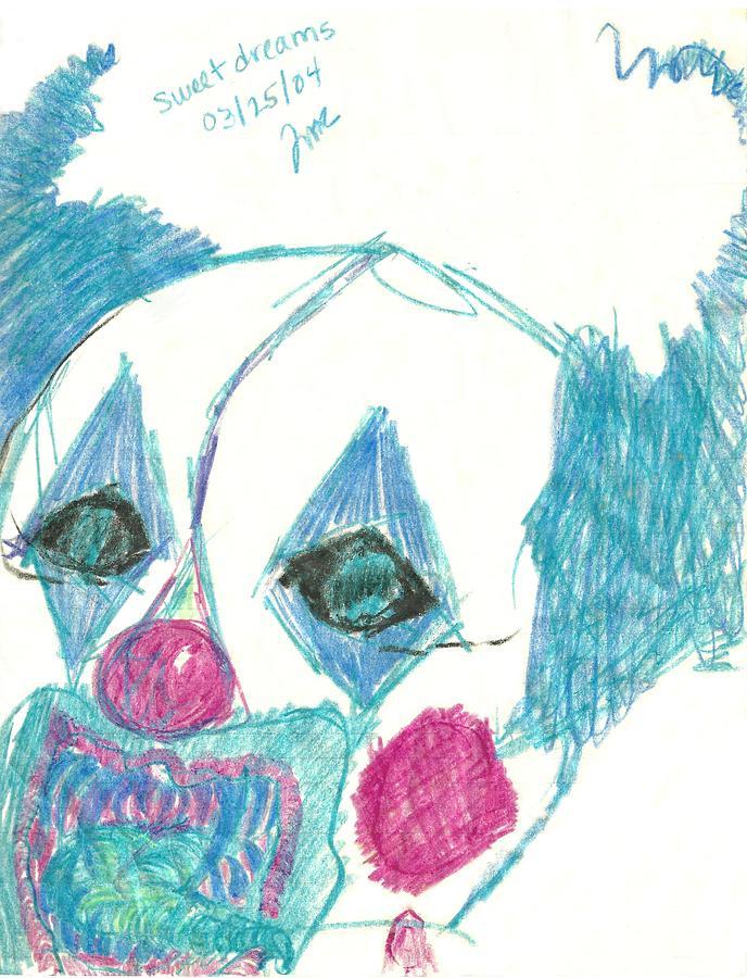 Wicked Clown Drawing - Sweet Dreams by Theresa Rawlings