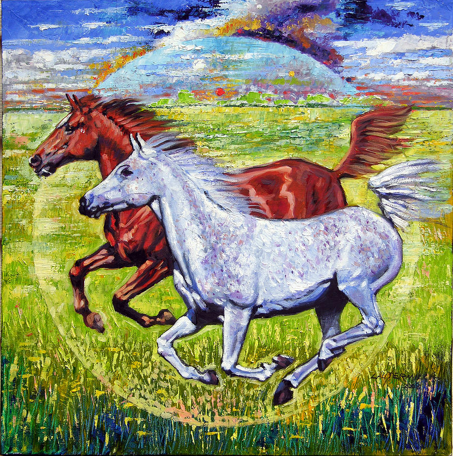 Horses Running Painting - Sweet Harmony by John Lautermilch