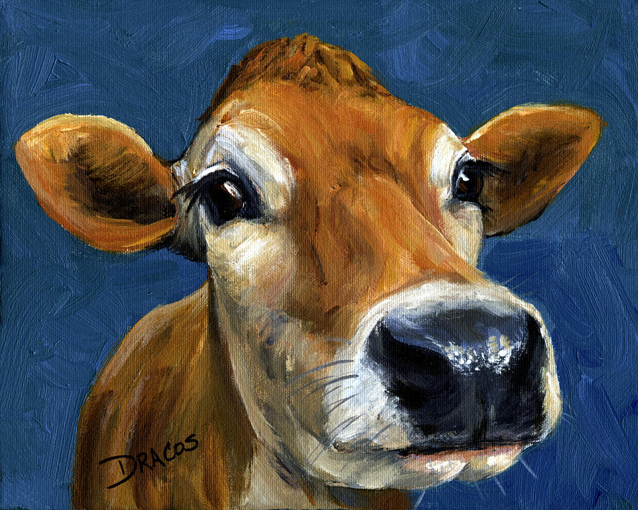 Jersey Cow Painting - Sweet Jersey Cow by Dottie Dracos