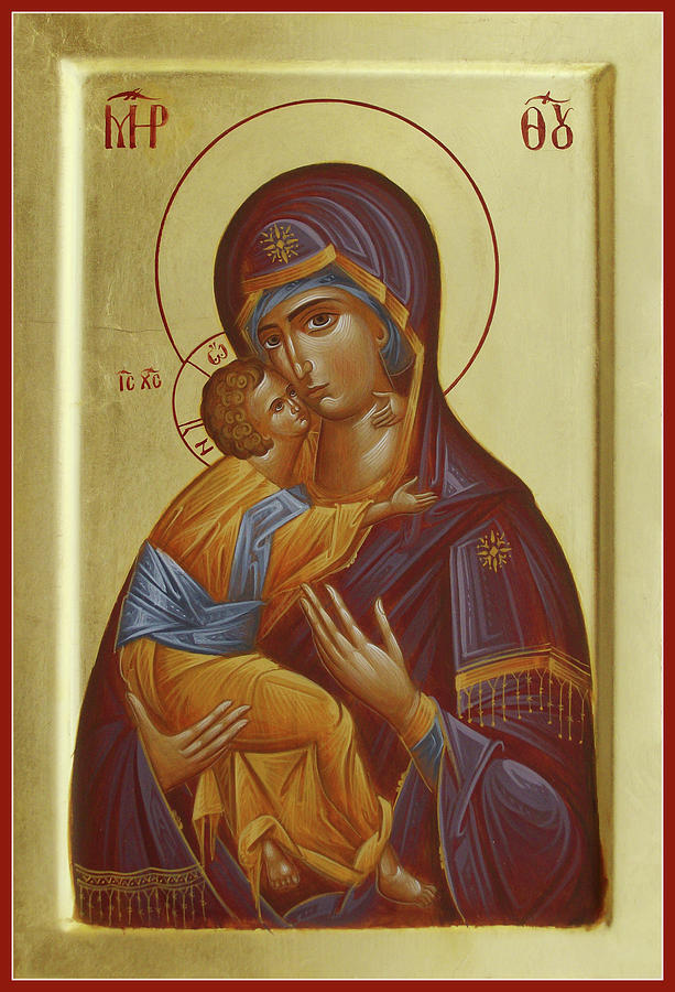 Virgin Mary Painting - Sweet Kissing Mother Of God by Julia Bridget Hayes