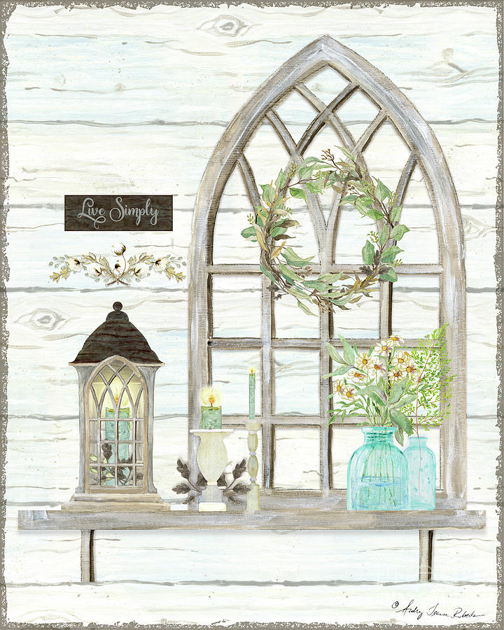 Lantern Painting - Sweet Life Farmhouse 3 Gothic Window Lantern Floral Shiplap Wood by Audrey Jeanne Roberts