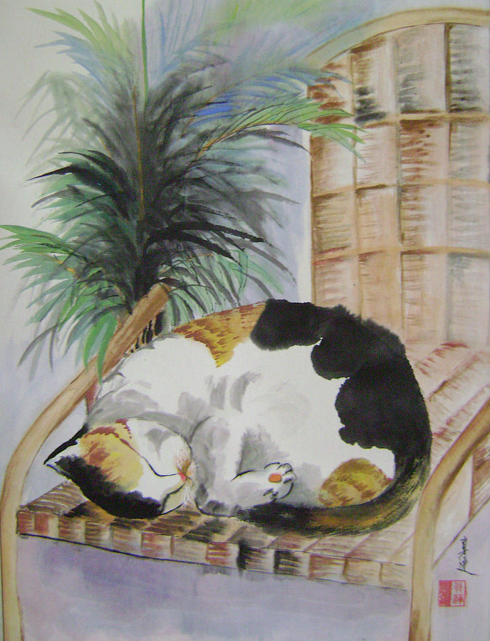 Cats Painting - Sweet Nap by Lian Zhen