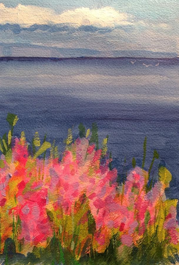 Seascape Painting - Sweet Peas by Marion Corbin Mayer