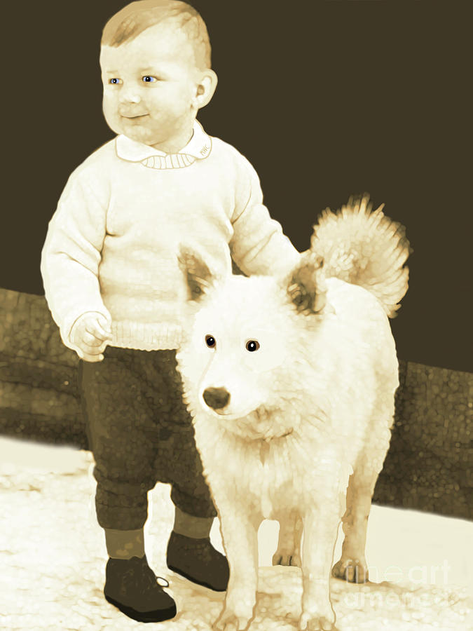Sweet Vintage Toddler With His White Mutt by Marian Cates