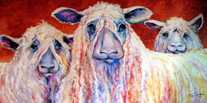 Sheep Painting - Sweet Wensleydales Sheep By M Baldwin by Marcia Baldwin
