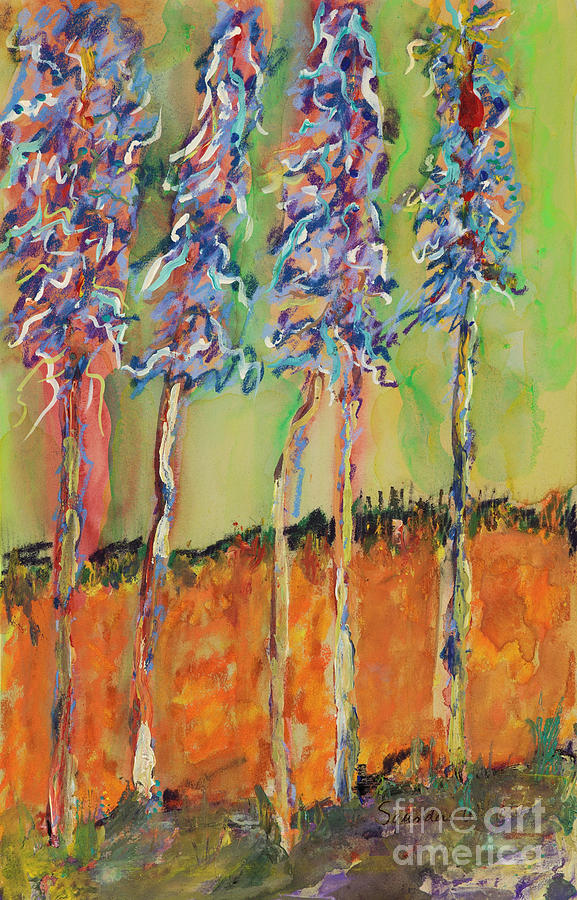 Abstracts Painting - Sweetheart Hill by Pat Saunders-White