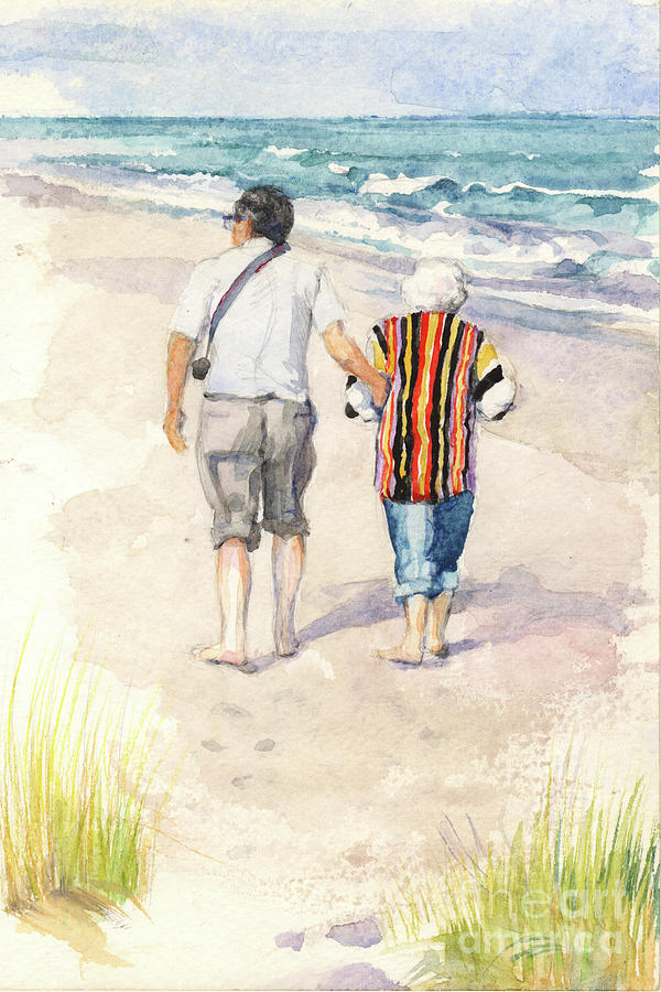 Sweethearts at the beach by Nancy Watson