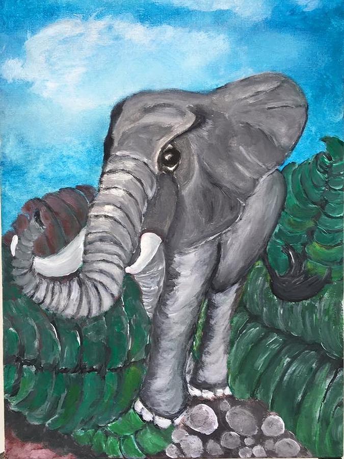 Sweetie Elephant  Painting by Mimi Eskenazi