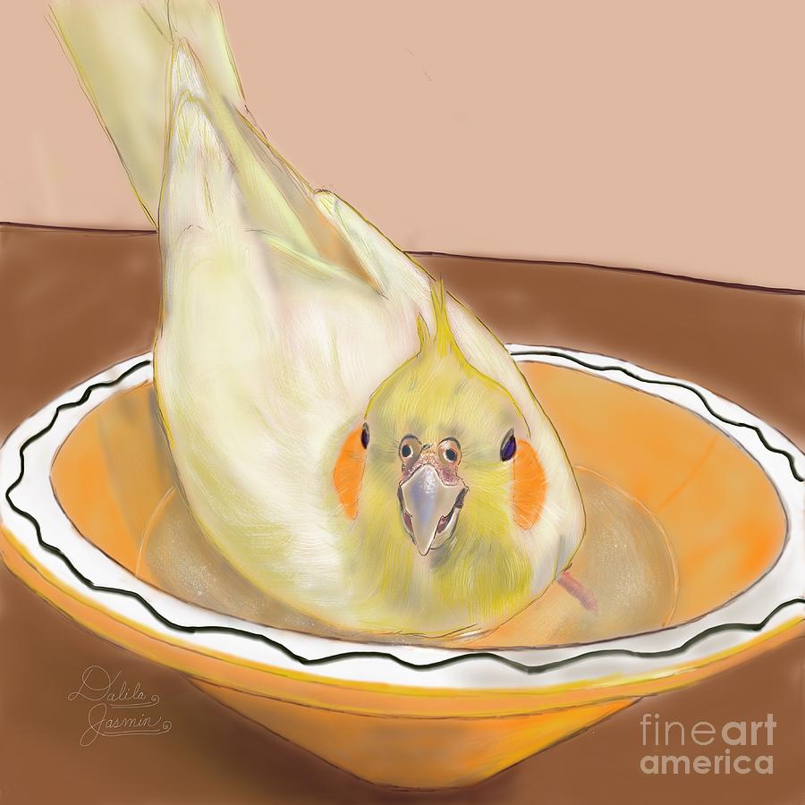 Cockatiel Digital Art - Sweetness by Dalila Jasmin