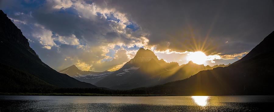 Park Photograph - Swiftcurrent Lake Sundown Glacier N P by Steve Gadomski