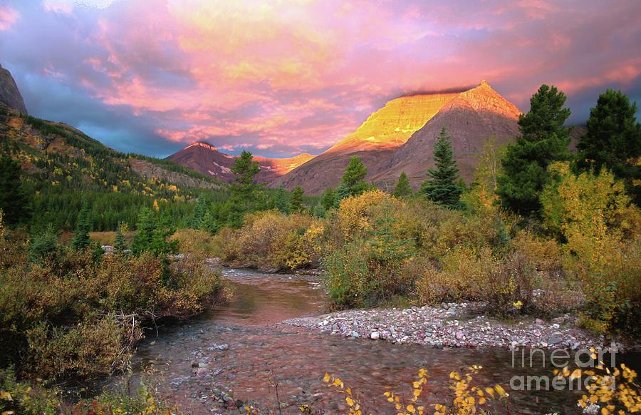 Landscape Photograph - Swiftcurrent Sunrise by Dave Hampton Photography