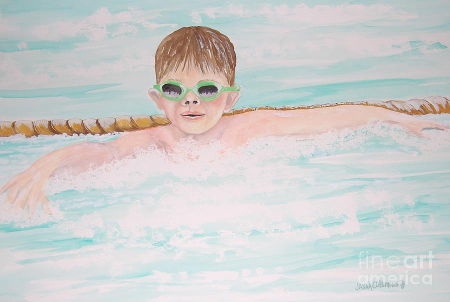 Boy Painting - Swim Meet by Janna Columbus
