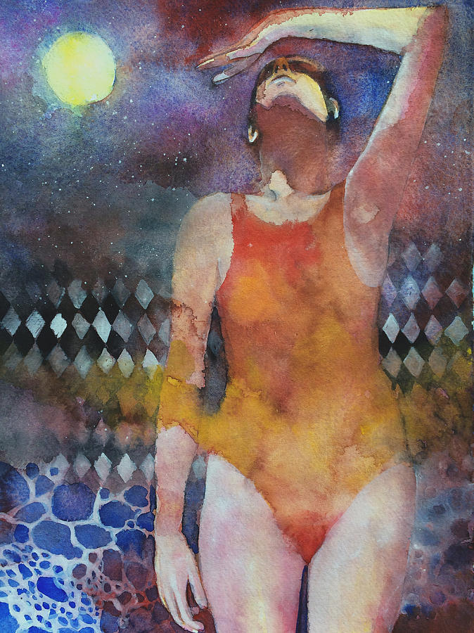Water Painting - Swimmer by Alessandro Andreuccetti