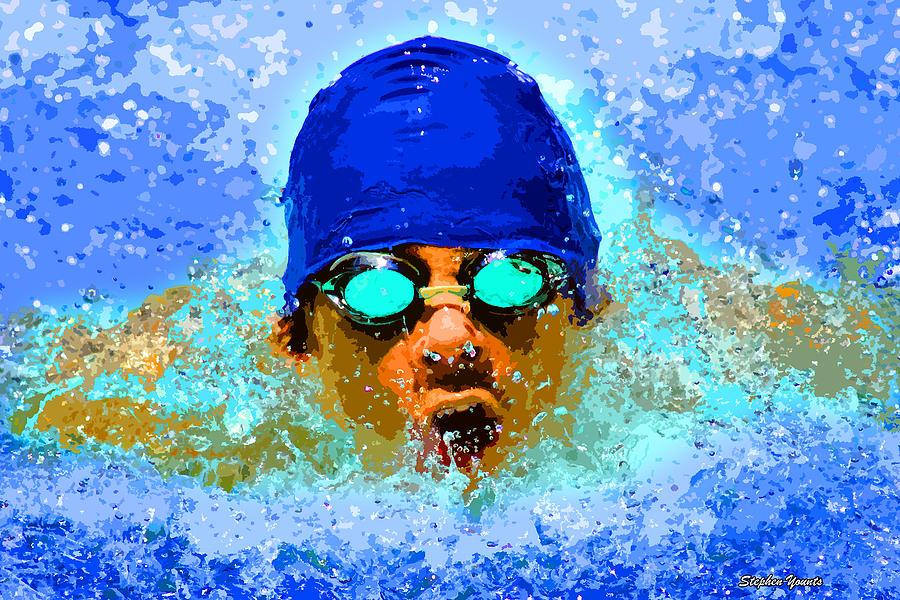 Swimmer Digital Art - Swimmer by Stephen Younts